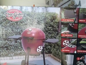 Outdoor Charcoal Grill Hinged Lid Backyard Chef with Fold Up Side Shelves in Red