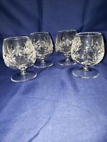 "4 GORHAM Crystal CHERRYWOOD Cut Pattern BRANDY GLASS Snifter 4"" Mid Century"