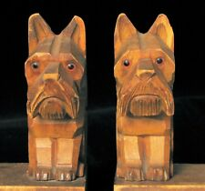 ANTIQUE HAND CARVED FOLK ART DOG BOOKENDS MADE IN GERMANY SCOTTY TERRIER ? NICE