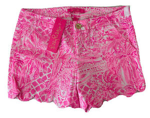 Lilly Pulitzer Buttercup Knit Shorts Pink Blossom Palm Beach Paradise Size 6