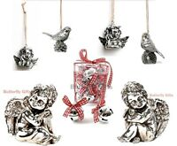 SILVER BELLS SMALL CHERUBS HANGING BIRDS ANGELS DECORATIONS FOR THE HOME