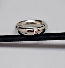 Quality Stainless Steel Ring with Round Pale Pink Diamond Nickel Free Size 9
