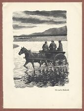 """Art Print, C.F.Tunnicliffe, """"The Road to Benbecula"""",  Hebrides 1940s book  JX662"""
