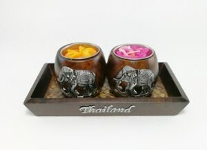 Candlestick Tealight Candle Holder Wood & Tray Aroma Thai Spa Home Decor Dinner