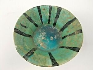 ANTIQUE TURQUOISE GLAZE POTTERY BOWL RESTORED ISLAMIC MIDDLE EAST 10th-13th C