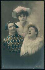 Clown Pierrot Lady Couple Man Friend Fantasy original old 1910s photo postcard