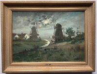 19th Century Antique Oil Impressionism Painting Landscape Moonlight Mill