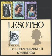 LESOTHO 531-34 SG701-03,MS704 MNH 1986 QEII 60th Birthday set of 3+MS Cat$5