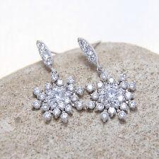 Hanging Snowflake Snow Cubic Zirconia CZ Drop Dangle Stud Earrings Birthday Gift