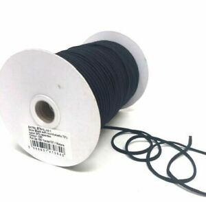 3mm x 5mtr Black Soft Round Elastic - Ideal for facemasks - Nice and soft