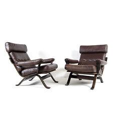 1 de 2 rétro vintage danois en cuir Fauteuil de salon fauteuil chaise 60 s 70 s palissandre