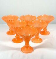 Vintage Art Deco Large Orange Glass Desert Sherbets  Set of 6