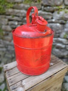 c1930's Vintage Agate Sheet Metal Products Chicago Large 5 Gal Petrol Can in Red