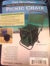 NWT Copperwoed Monterey Picnic Folding Chair w Cooler Bag/6-Pc Picnic Set - Blue