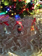Vtg Lot 3 Clear Glass Bell Ornaments Teddy Bear Soldier Angel Figurine Clapper