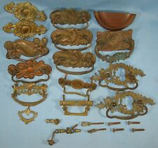 """LOT of 15 ANTIQUE STAMPED/CAST BRASS DRAWER PULLS/HARDWARE """"AS IS"""""""