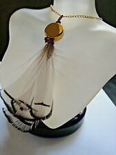 Mara from Greece Necklace Tahoe Feather & Leather on Delicate Gold Chain NWT