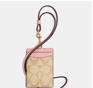 NWT COACH ID Badge Lanyard w/Card Slots Signature PVC Light Khaki + Pink