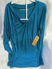 Bit & Bridle Womens MEDIUM Blue Long Sleeve Tunic Ruched Neckline Blouse NEW