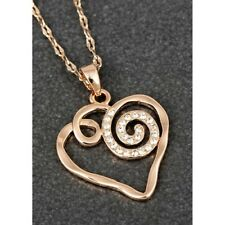 Equilibrium Artisan Swirl Heart Rose Gold Plated Necklace