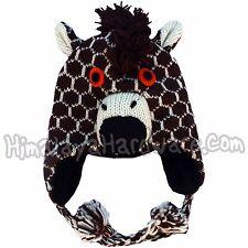 Knit Wool Giraffe Hat: ear flap animal womens girls youth adult child mane face