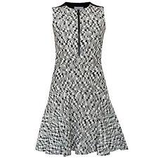AKRIS PUNTO $995 black and cream flared ruffle hem zip-front dress 2-US/34-F NEW