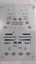1/72 SUPERSCALE DECALS: T-33s 'VX-4 PT MUGU, OREGON ANG RED HAWKS, 2ND FW'