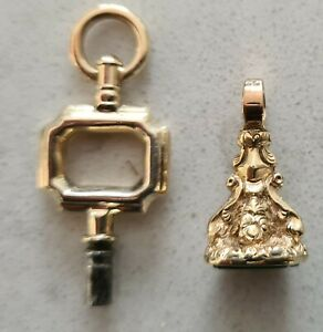 9 ANTIQUE POCKET WATCH KEYS ONE 9ct GOLD & A 9ct GOLD ORNATE FOB SEAL.