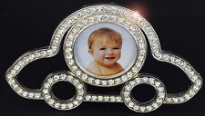 SILVER PLATED CRYSTAL CAR SHAPE FIRST YEAR BABY PHOTO FRAME BABY SHOWER GIFT