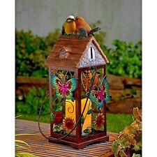 Solar Powered LED Candle Lantern Light Bird House Decorative Garden Ornament