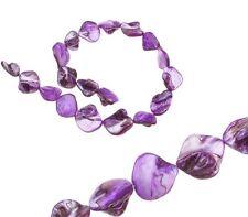 Perlen Muscheln Perlmutt Violett 18 stk Nugets Formlos Chips 20mm Schmuck U114