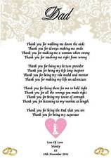 Wedding Day Thank You Gift Father Of The Bride Poem A5 Photo 260gms