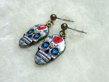 Boucles d'oreilles originales crâne tête de mort mexicaine skull roses diamants