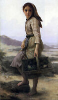 """Art Oil painting Bouguereau - The Fisher nice young girl by beach canvas 24""""x36"""""""