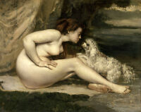 Nice Oil painting Nude young woman bather with pet Dog i sunset canvas