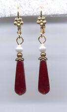 New listing Bohemian Garnet Briolette crystal Seed Pearl Earrings 14K Gold gp Vintage Czech