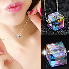 Women Magic Cube Crystal Pendant Choker Collar Silver Box Chain Necklace