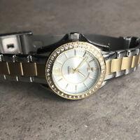 Fossil Riley Mini Two Tone Steel Crystal Bezel Women's Watch ES2880 Bin L