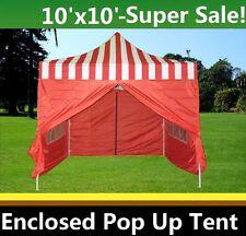 10'x10' Enclosed Pop Up Canopy Party Folding Tent Gazebo - Red Stripe - E Model