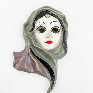 Vintage Ceramic Wall Hanging Face Mask Hand Painted Mata Hari Style Glitter 5x9