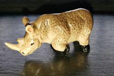 Miniature Ceramic Figurine Adult Rhino Rhinnocerous with 1 Raised Foot Horns