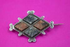 superb Victorian Scottish 1880 silver Granite Hardstone brooch unmarked as found