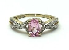Sterling Silver Gold Two Tone Petite Pink Sapphire X Split Twist Cocktail Ring 7