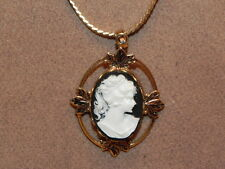 "Vintage Victorian Lady Cameo Pendant Gold Tone 23 3/4"" Chain Necklace"