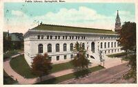 Vintage Postcard 1910's Public Library Springfield MA Massachusetts