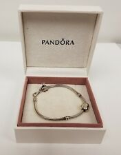 Authentic Pandora 925 Sterling Silver Lobster Clasp Bracelet with two Charms