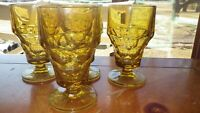Anchor Hocking Georgian Footed Iced Tea Glasses Goblets  Amber Glass 4 12 oz