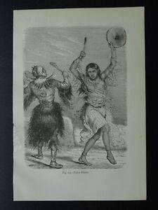 Russia Siberia YAKUT PRIESTS at DANCE Original Victorian Print by Figuier c1893