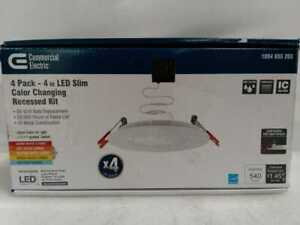 Commercial Electric Ultra Slim 4 in. Color Select Canless Recessed LED Kit 4-pk
