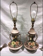 Pair (2) Capodimonte Ceramic Lamps-Ornate Flower Design-Made in Italy-Ships Free